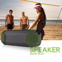 Mini Portable Wireless Bluetooth Column Speaker Outdoor Waterproof Super Bass Bluetooth Speaker For Mobile Phones Army Green/Speaker